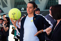 October 3, 2018 - Caroline Garcia of France visits the Cittic Bank booth at the 2018 China Open WTA Premier Mandatory tennis tournament (Credit Image: © AFP7 via ZUMA Wire)
