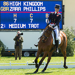 Zara Phillips (GBR) and High Kingdom  compete in the dressage test during the second day of the 2013 Mitsubishi Motors Badminton Horse Trials. Saturday 04  May  2013.  Badminton, Gloucs, UK..Photo by: Mark Chappell / i-Images