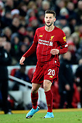 Liverpool midfielder Adam Lallana (20) during the Premier League match between Liverpool and Brighton and Hove Albion at Anfield, Liverpool, England on 30 November 2019.