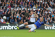 Derby County forward Martyn Waghorn (9) has his shot blocked by Birmingham City defender Kristian Pedersen (3) during the EFL Sky Bet Championship match between Derby County and Birmingham City at the Pride Park, Derby, England on 28 September 2019.