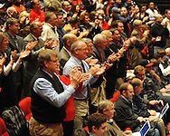 Fans cheer as new Ole Miss head football coach Hugh Freeze is introduced at a press conference at the Ford Center on campus in Oxford, Miss. on Monday, December 5, 2011.