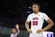 DALLAS, TX - JANUARY 04:  Ben Moore #00 of the SMU Mustangs looks on against the Temple Owls during a basketball game on January 4, 2017 at Moody Coliseum in Dallas, Texas.  (Photo by Cooper Neill/Getty Images) *** Local Caption *** Ben Moore