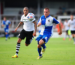 Bristol Rovers' Eliot Richards  chases for a loose ball - Photo mandatory by-line: Dougie Allward/JMP - Tel: Mobile: 07966 386802 16/07/2013 - SPORT - FOOTBALL - Bristol -  Hereford United V Bristol Rovers - Pre Season Friendly
