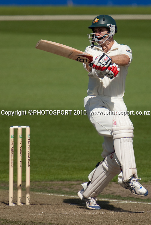 Simon Katich bats during day one of the 2nd cricket test match between NZ Black Caps and Australia, at Seddon Park, Hamilton, 27 March 2010. Photo: Stephen Barker/PHOTOSPORT