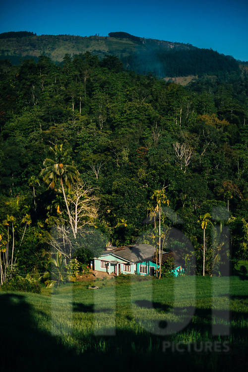 A small house beneath a towering mountain in the Knuckles Range, Kandy, Sri Lanka, Asia