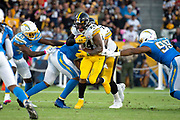 Pittsburgh Steelers running back Benny Snell (24) runs the ball during an NFL football game against the Los Angeles Chargers. The Steelers defeated the Chargers 24-17 on  Sunday, Oct. 13, 2019, in Carson, Calif. (Ed Ruvalcaba/Image of Sport)
