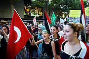 Mainz | 18 July 2014<br /> <br /> Am Samstag (18.07.2014) nahmen etwa 1000 M&auml;nner, Frauen und Kinder in der Innenstadt von Mainz anl&auml;sslich der milit&auml;rischen Auseinandersetzung zwischen Israel und der Hamas in Gaza an einer Solidarit&auml;tsdemonstration f&uuml;r Gaza, ein freies Pal&auml;stina und gegen Israel teil. Bei der Demo wurden Fahnen der Hamas und der Hisbollah mitgef&uuml;hrt, neben den &uuml;blichen Parolen gegen Israel wurde in Sprechch&ouml;hren auch vereinzelt zur Vernichtung von J&uuml;dinnen und Juden aufgerufen.<br /> Hier: Ein M&auml;dchen mit Djihadisten-Stirnband und t&uuml;rkischer Fahne.<br /> <br /> <br /> &copy;peter-juelich.com<br /> <br /> [No Model Release | No Property Release]