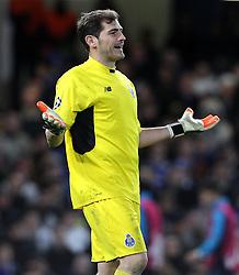 Iker Casillas of FC Porto reacts during the match - Mandatory byline: Paul Terry/JMP - 09/12/2015 - Football - Stamford Bridge - London, England - Chelsea v FC Porto - Champions League - Group G