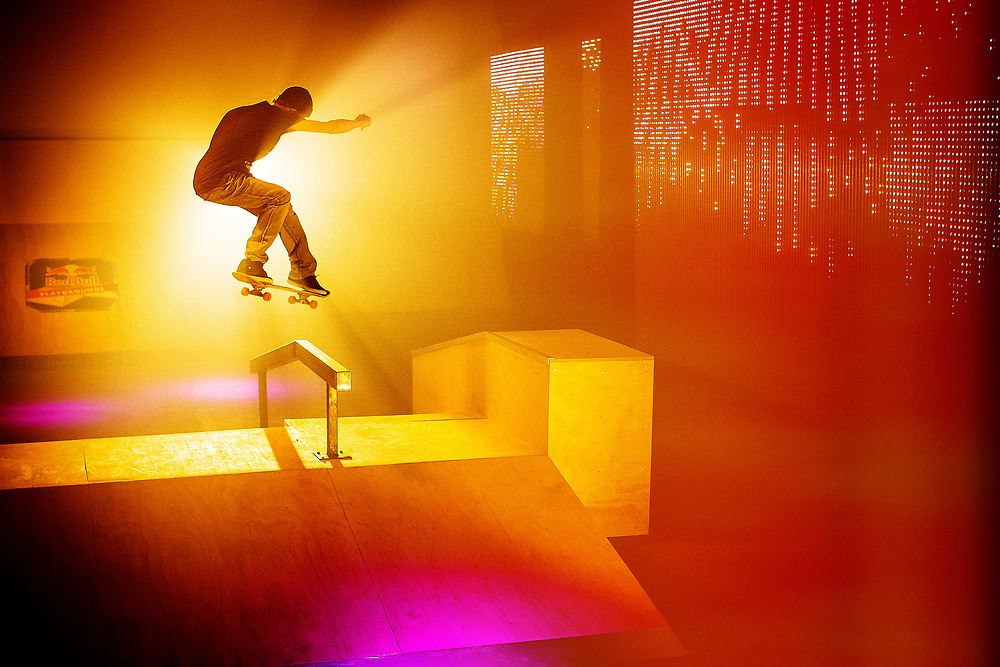 Ryan Decenzo skateboards inside the Red Bull Skate House on October 29th, 2012 in Toronto, Canada.