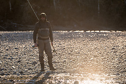 2017 JAN 13: Steelhead fishing on the Skagit River near Concrete, Washington.
