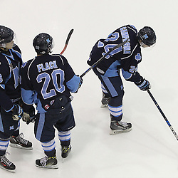 TORONTO, ON - SEP 11:  St. Michael&rsquo;s Buzzers players during the pregame warm-up. OJHL regular season game between the St.Michael's Buzzers and the Georgetown Raiders St.Michael's Buzzers and Georgetown Raiders  on September 11, 2016 in Toronto, Ontario. <br /> (Photo by Tim Bates / OJHL Images)