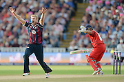 David Willey appeals for an LBW during the NatWest T20 Blast final match between Northants Steelbacks and Lancashire Lightning at Edgbaston, Birmingham, United Kingdom on 29 August 2015. Photo by David Vokes.