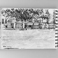 Sketchbook scene in town with park