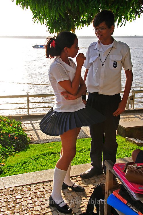 Belem - teenagers flirting at the Fort after schooltime - Cidade Velha. .