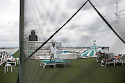 BALI, INDONESIA JAN 2015;<br />Tourist relaxing on board of the Chrystal Symphony Cruise docked in the Harbour in Bali, Indonesia, Jan 2015<br />@Giulio Di Sturco