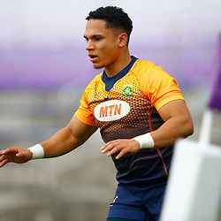 TOKYO, JAPAN - OCTOBER 15: Herschel Jantjies during the South African national rugby team training session at Fuchu Asahi Football Park on October 15, 2019 in Tokyo, Japan. (Photo by Steve Haag/Gallo Images)