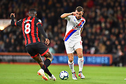 James McArthur (18) of Crystal Palace is challenged by Jefferson Lerma (8) of AFC Bournemouth during the Premier League match between Bournemouth and Crystal Palace at the Vitality Stadium, Bournemouth, England on 1 October 2018.