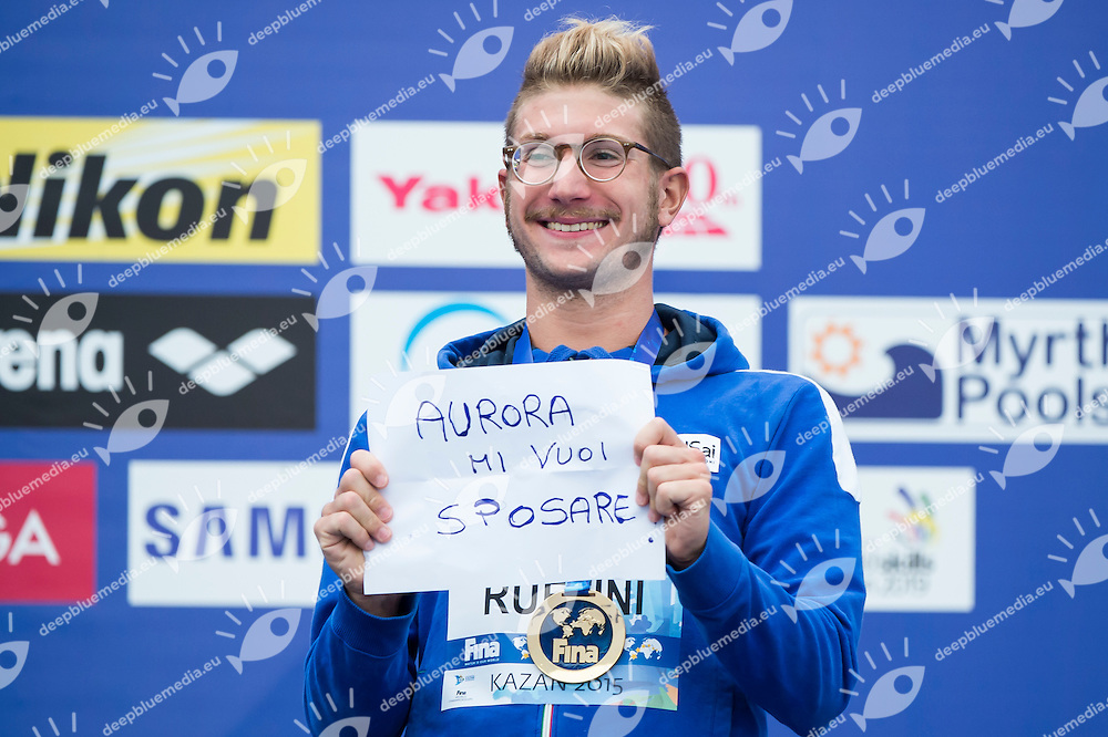RUFFINI Simone ITA gold medal <br /> Open Water - Men's  25km <br /> Day 09 01/08/2015<br /> XVI FINA World Championships Aquatics Swimming<br /> Kazan Tatarstan RUS July 24 - Aug. 9 2015 <br /> Photo Giorgio Perottino/Deepbluemedia/Insidefoto