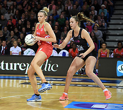 England's Joanne Harten, left, under pressure from New Zealand's Kelly Jury in the Taini Jamison Trophy netball series match at Te Rauparaha Arena, Porirua, New Zealand, Thursday, September 07, 2017. Credit:SNPA / Ross Setford  **NO ARCHIVING**