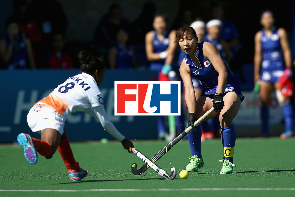 JOHANNESBURG, SOUTH AFRICA - JULY 20: Yukari Mano of Japan and Nikki Pradhan of India battle for possession during the 5th-8th Place playoff match between India and Japan during Day 7 of the FIH Hockey World League - Women's Semi Finals on July 20, 2017 in Johannesburg, South Africa.  (Photo by Jan Kruger/Getty Images for FIH)