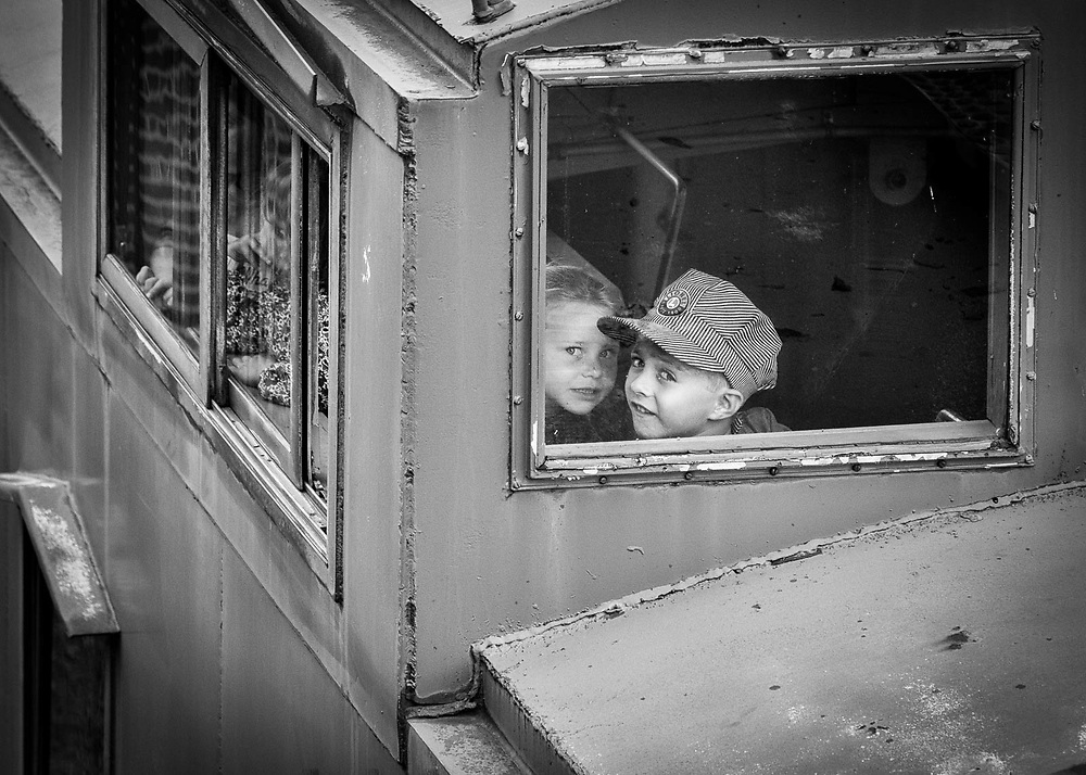 Caboose, Kids, Boy, Hat, Lionel, Steamtown, Scranton, PA, Pennsylvania, Window,