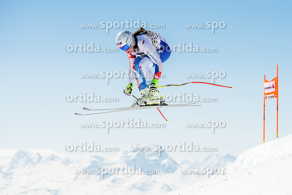 14.03.2016, Engiadina, St. Moritz, SUI, FIS Weltcup Ski Alpin, St. Moritz, Abfahrt, Damen, 1. Training, im Bild Corinne Suter (SUI) // competes in her 1st training run for the ladie's Downhill of st. Moritz Ski Alpine World Cup finals at the Engiadina in St. Moritz, Switzerland on 2016/03/14. EXPA Pictures &copy; 2016, PhotoCredit: EXPA/ Freshfocus/ Manuel Lopez<br /> <br /> *****ATTENTION - for AUT, SLO, CRO, SRB, BIH, MAZ only*****