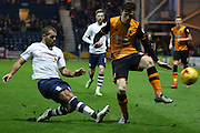 Prestons John Welsh clears during the Sky Bet Championship match between Preston North End and Hull City at Deepdale, Preston, England on 28 December 2015. Photo by Pete Burns.