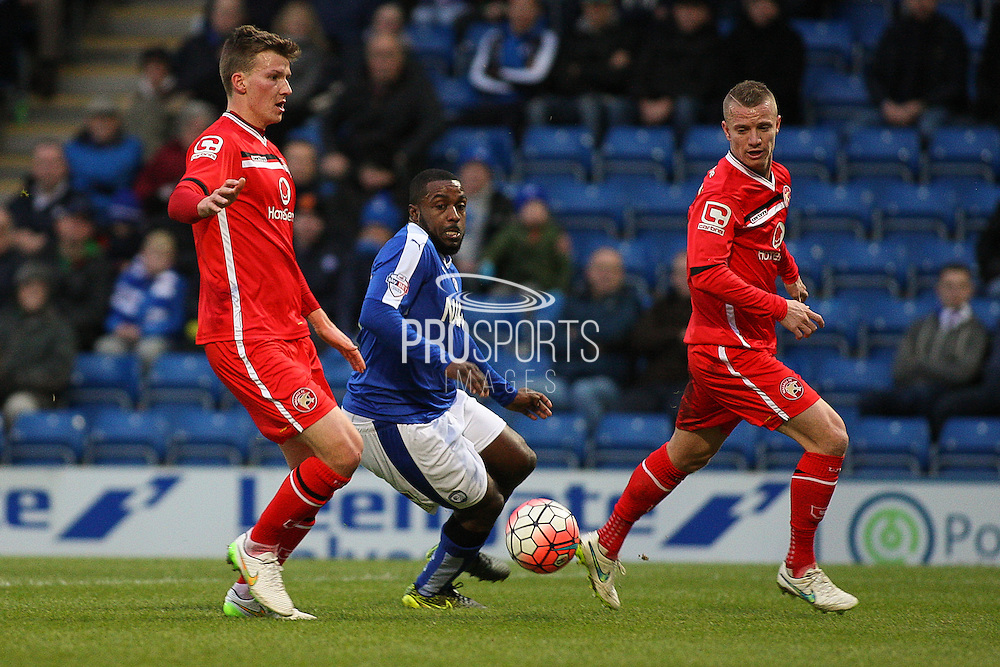 Chesterfield FC forward Sylvan Ebanks-Blake beats the defenders during the The FA Cup match between Chesterfield and Walsall at the Proact stadium, Chesterfield, England on 5 December 2015. Photo by Aaron Lupton.