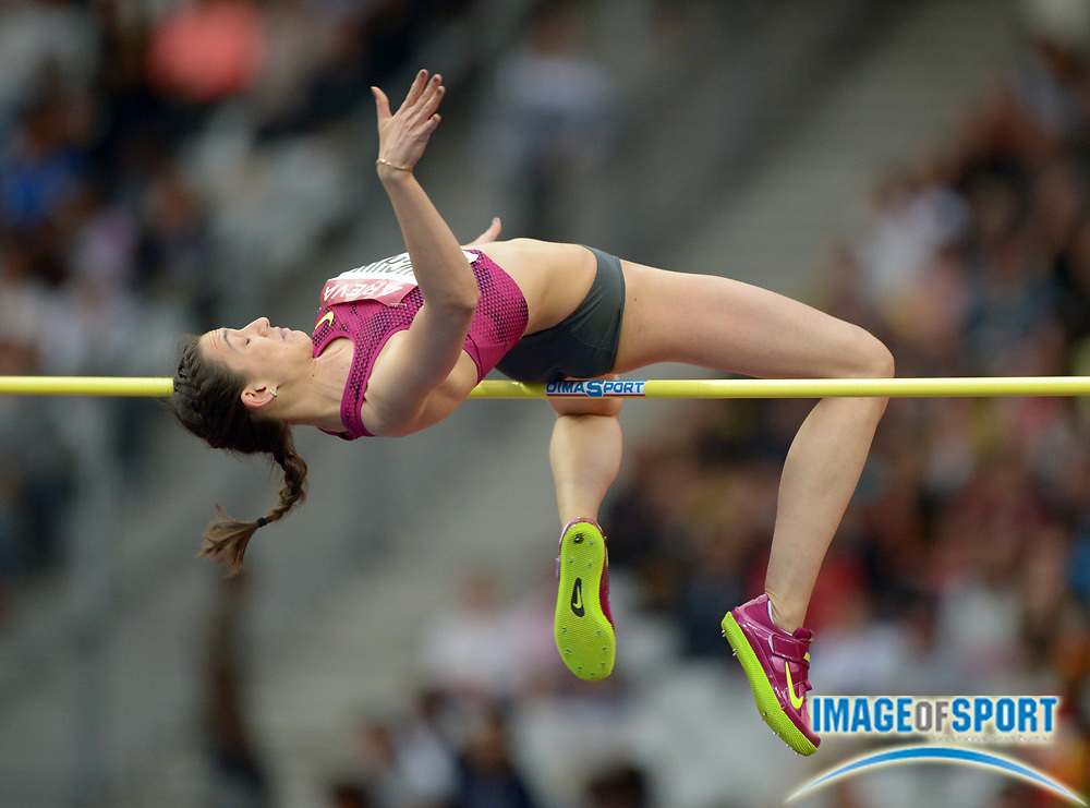 Jul 5, 2014; Saint-Denis, France; Mariya Kuchina (RUS) places second in the womens high jump at 6-6 3/4 (2.00m) in the 2014 Meeting Areva at Stade de France.