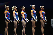 Naomi Visser, Celine Van Gerner, Vera Van Pol, Tisha Volleman, Sanne Wevers (Netherlands) Bronze Medal Women's Team Competition during the European Championships Glasgow 2018, Women's Artistic Gymnastics , Team Final at The SSE Hydro in Glasgow, Great Britain, Day 3, on August 4, 2018 - Photo Laurent Lairys / ProSportsImages / DPPI