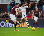 Dundee&rsquo;s Faissal El Bakhtaoui goes past Hearts&rsquo; John Souttar - Hearts v Dundee, Ladbrokes Scottish Premiership at Tynecastle, Edinburgh. Photo: David Young<br /> <br />  - &copy; David Young - www.davidyoungphoto.co.uk - email: davidyoungphoto@gmail.com