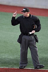 21 April 2015:  Umpire Grady Smith during an NCAA Inter-Division Baseball game between the Illinois Wesleyan Titans and the Illinois State Redbirds in Duffy Bass Field, Normal IL