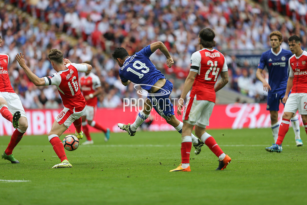 Chelsea's Diego Costa(19) shoots at goal scores a goal 1-1 during the The FA Cup final match between Arsenal and Chelsea at Wembley Stadium, London, England on 27 May 2017. Photo by Shane Healey.