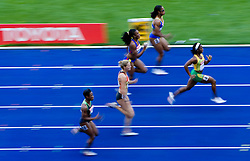 Athletes competes in the women's 100 Metres Heats during day two of the 12th 2009 IAAF Athletics World Championships on August 16, 2009 in Berlin, Germany. (Photo by Vid Ponikvar / Sportida)