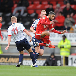 TELFORD COPYRIGHT MIKE SHERIDAN 16/3/2019 - Jobi McAnuff (captain) of Orient rides a challenge from Darryl Knights of AFC Telford during the FA Trophy semi final first leg fixture between Leyton Orient and AFC Telford United at Brisbane Road.