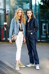 Street style, models Eliza Kallmann and Felice Nova Noordhoff after Chloe spring summer 2019 ready-to-wear show, held at Maison de la Radio, in Paris, France, on September 27th, 2018. Photo by Marie-Paola Bertrand-Hillion/ABACAPRESS.COM
