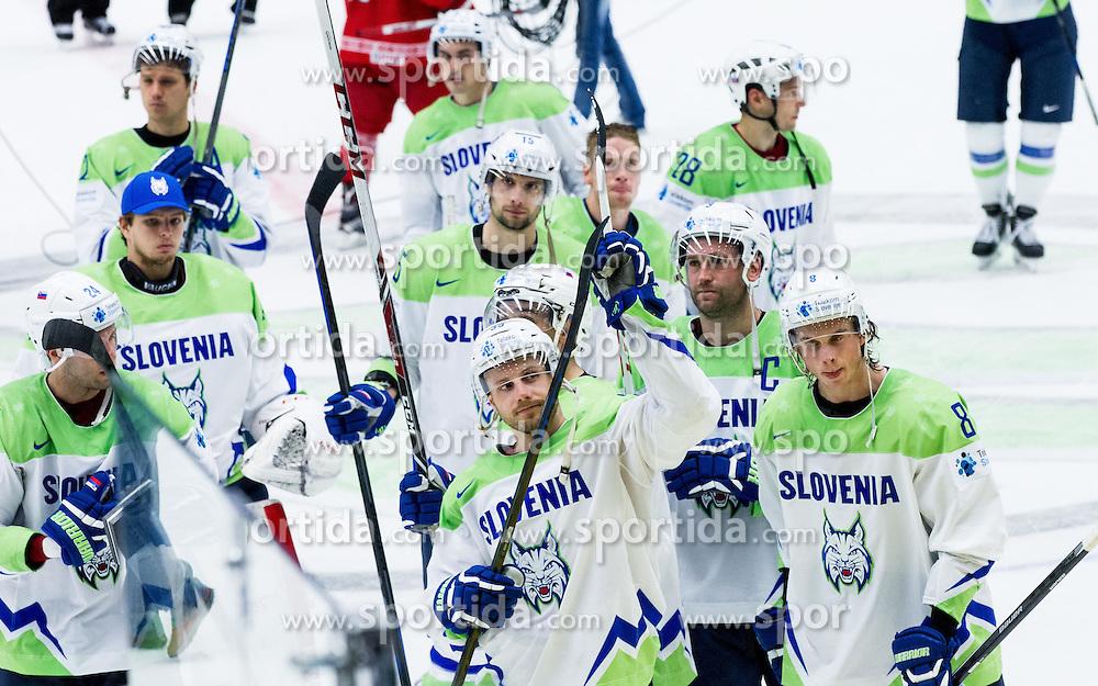Jan Mursak of Slovenia, Tomaz Razingar of Slovenia, Ziga Jeglic of Slovenia after the Ice Hockey match between Belarus and Slovenia at Day 2 in Group B of 2015 IIHF World Championship, on May 2, 2015 in CEZ Arena, Ostrava, Czech Republic. Photo by Vid Ponikvar / Sportida