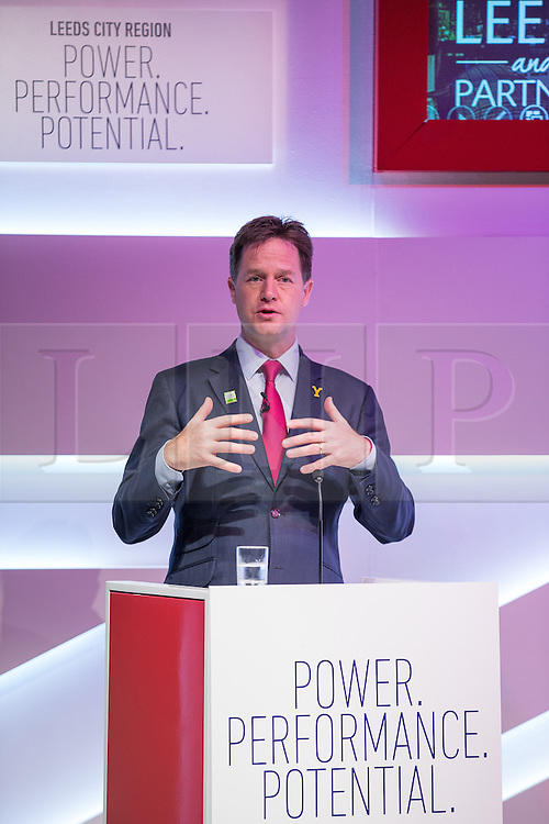 © Licensed to London News Pictures . 04/07/2014 . Leeds , UK . The Deputy Prime Minister , NICK CLEGG MP , in Leeds today (Friday 4th July 2014) . The Liberal Democrat leader and MP for Sheffield Hallam delivers a speech on economic growth and discusses plans to develop a northern economic hub to rival London at the Carriage Works conference venue . Photo credit : Joel Goodman/LNP