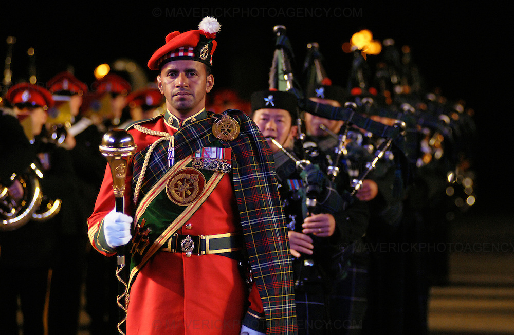 Dancers, musicians,stunt men and women put on a colourful show at the 58th Edinburgh Military Tattoo at Edinburgh Castle Esplanade. The event is the largest gathering of military musicians in the UK with participants from as far a field as Africa, America and Asia.
