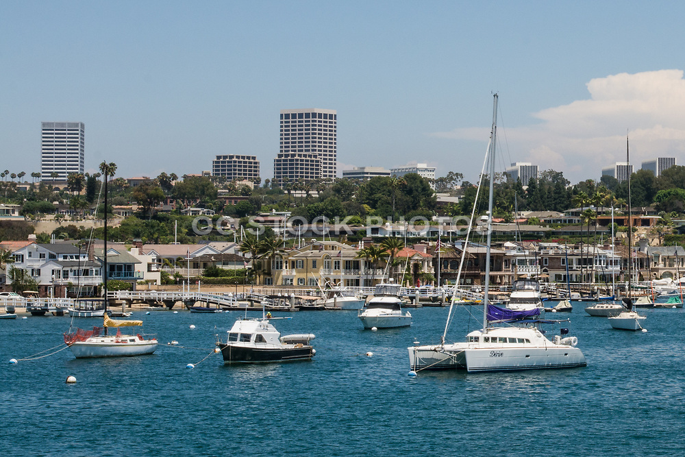 Newport Beach Harbor and Fashion Island In The Background