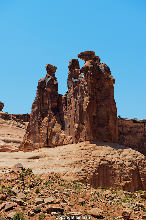 The Three Gossips,natural rock formation, Arches National Park, Utah, USA.