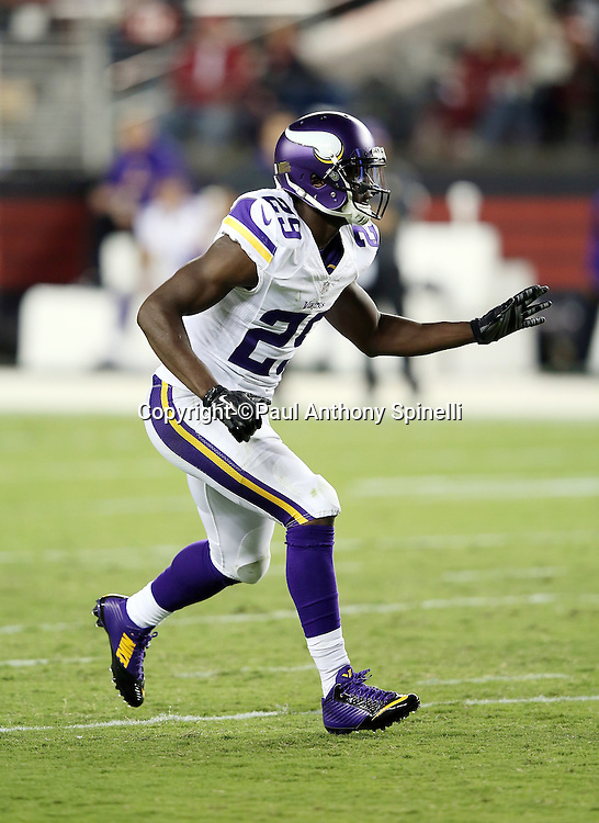 Minnesota Vikings cornerback Xavier Rhodes (29) chases the action during the 2015 NFL week 1 regular season football game against the San Francisco 49ers on Monday, Sept. 14, 2015 in Santa Clara, Calif. The 49ers won the game 20-3. (©Paul Anthony Spinelli)