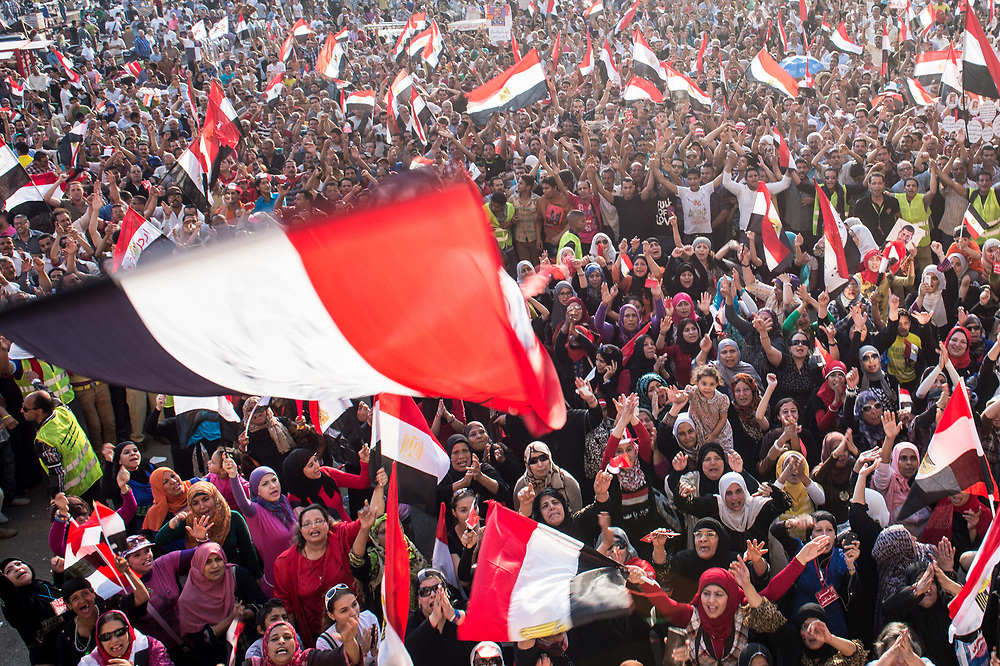 On the first anniversary of Mohamed Morsi's inauguration as president,  hundreds of thousands protesters gather at Tahrir Square to demand his resignation. Cairo, Egypt, June 30, 2013