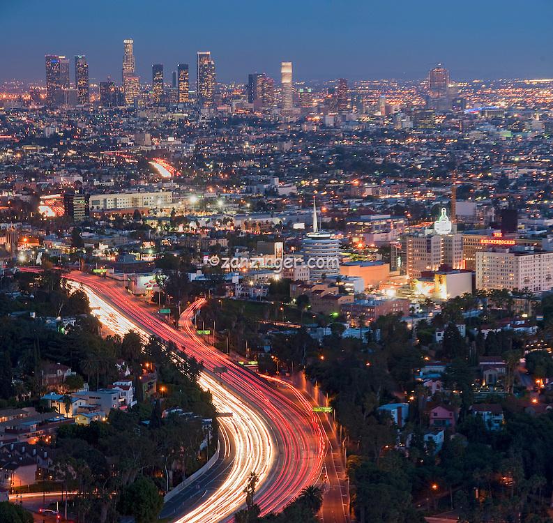 L.A. Skyline, los Angeles CA, Cityscape, Night, Dusk, lit, lights on, beautiful, Calif. California