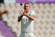 Warwikshire bowler Rikki Clarke during the Specsavers County Champ Div 1 match between Hampshire County Cricket Club and Warwickshire County Cricket Club at the Ageas Bowl, Southampton, United Kingdom on 12 April 2016. Photo by Graham Hunt.