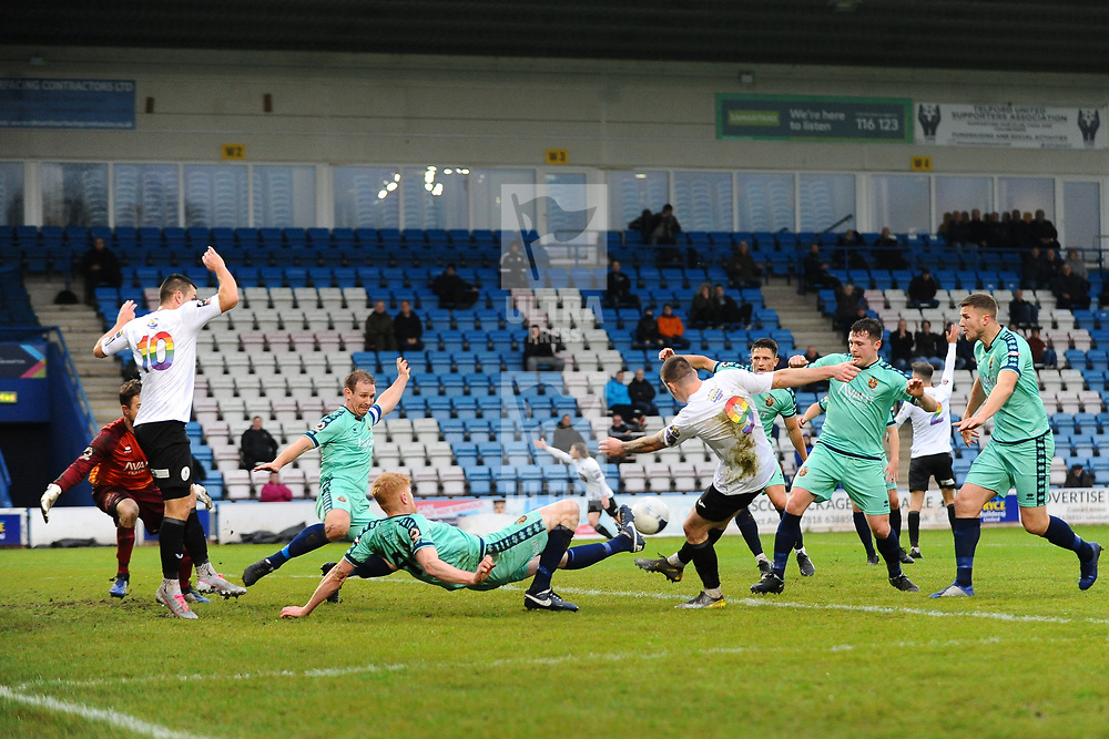 TELFORD COPYRIGHT MIKE SHERIDAN Matt Stenson of Telford (on loan from Solihull Moors) shoots during the Vanarama National League Conference North fixture between AFC Telford United and Spennymoor Town on Saturday, November 16, 2019.<br /> <br /> Picture credit: Mike Sheridan/Ultrapress<br /> <br /> MS201920-030