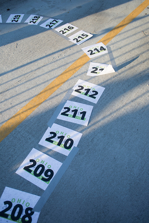 Numbered spaces line the parking lot outside of Baker Center after BobcaThon's cake walk on October 5, 2016.