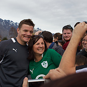 Brian O'Driscoll poses for a photograph with Triona Twomey at he Irish team training session at The Queenstown Events Centre in preparation for the IRB Rugby World Cup. The team are based in Queenstown for the early part of the tournament.  Queenstown, New Zealand, 4th September 2011. Photo Tim Clayton...