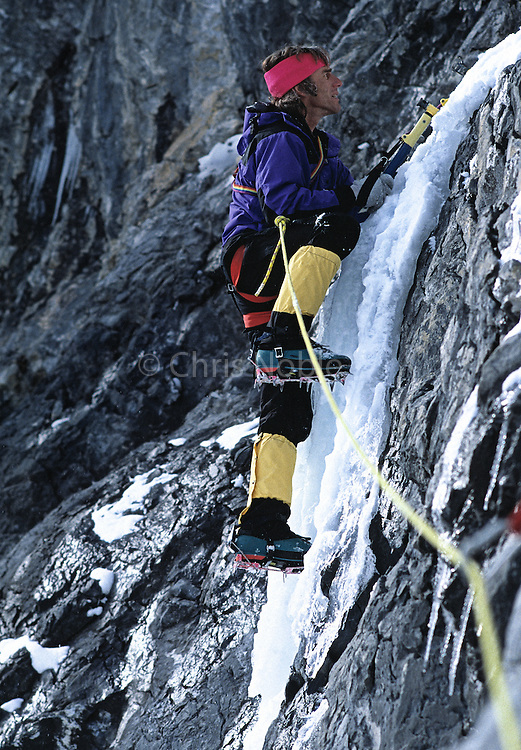 The late American mountaineer Mugs Stump mixed climbing on the Hell Gate Cliff in Little Cottowood Canyon, Wasatch Mountains, Utah, USA.
