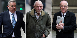 © Licensed to London News Pictures . 17/04/2014 . Manchester , UK . Composite image of L-R Alan Ledger , William Harper and Ray Teret arriving for a plea and case management hearing at Minshull Street Crown Court , Manchester , this morning (17th April 2014) . They are charged with historic sex offences . Photo credit : Joel Goodman/LNP